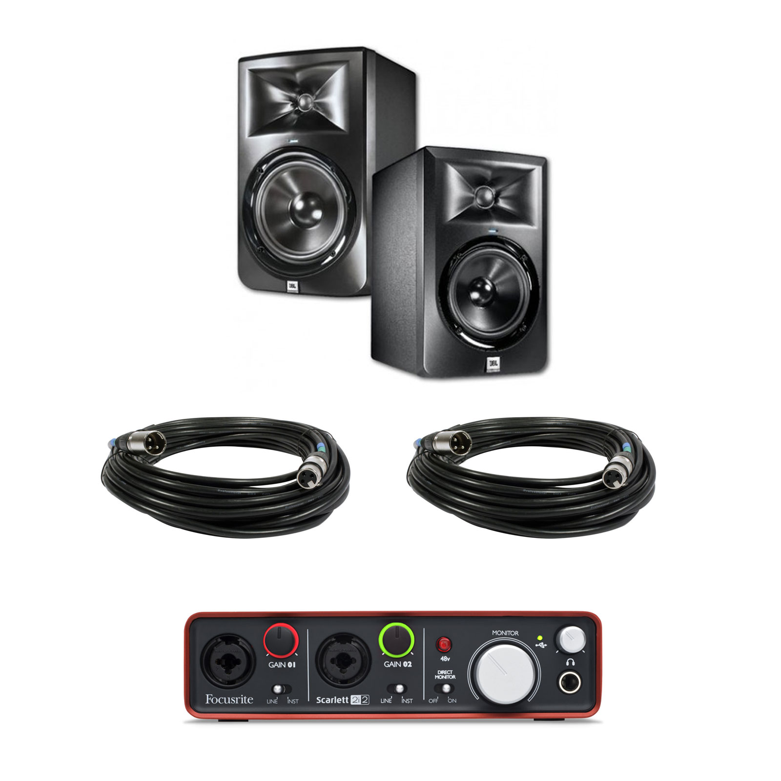 jbl lsr305 monitor speakers focusrite scarlett 2i2 interface 2 xlr cables ebay. Black Bedroom Furniture Sets. Home Design Ideas